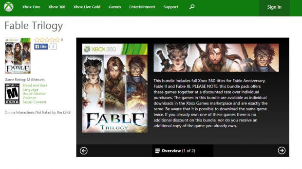 Un pack Fable Trilogy sur le Xbox Live