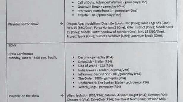 E3 2014 : Les line-up de Microsoft, Sony et Nintendo leakés ?