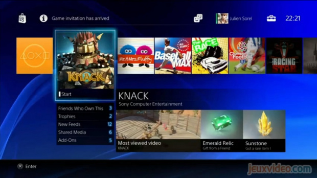 PS4 : Images de l'interface