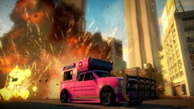 Images de Just Cause 2 : un véhicule rose bonbon