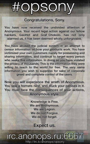 Avril : Anonymous joue avec Sony