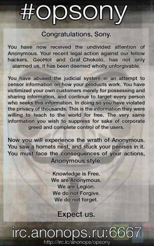 Avril : Anonymous joue avec Sony