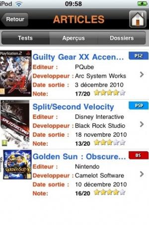 Application iPhone pour jeuxvideo.com