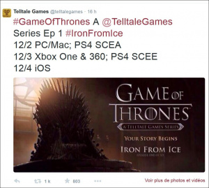 Game of Thrones de Telltale : Les dates pour l'épisode 1