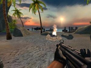 Fusils à pompe et noix de coco