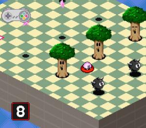 Kirby tente de ressembler à une balle de golf