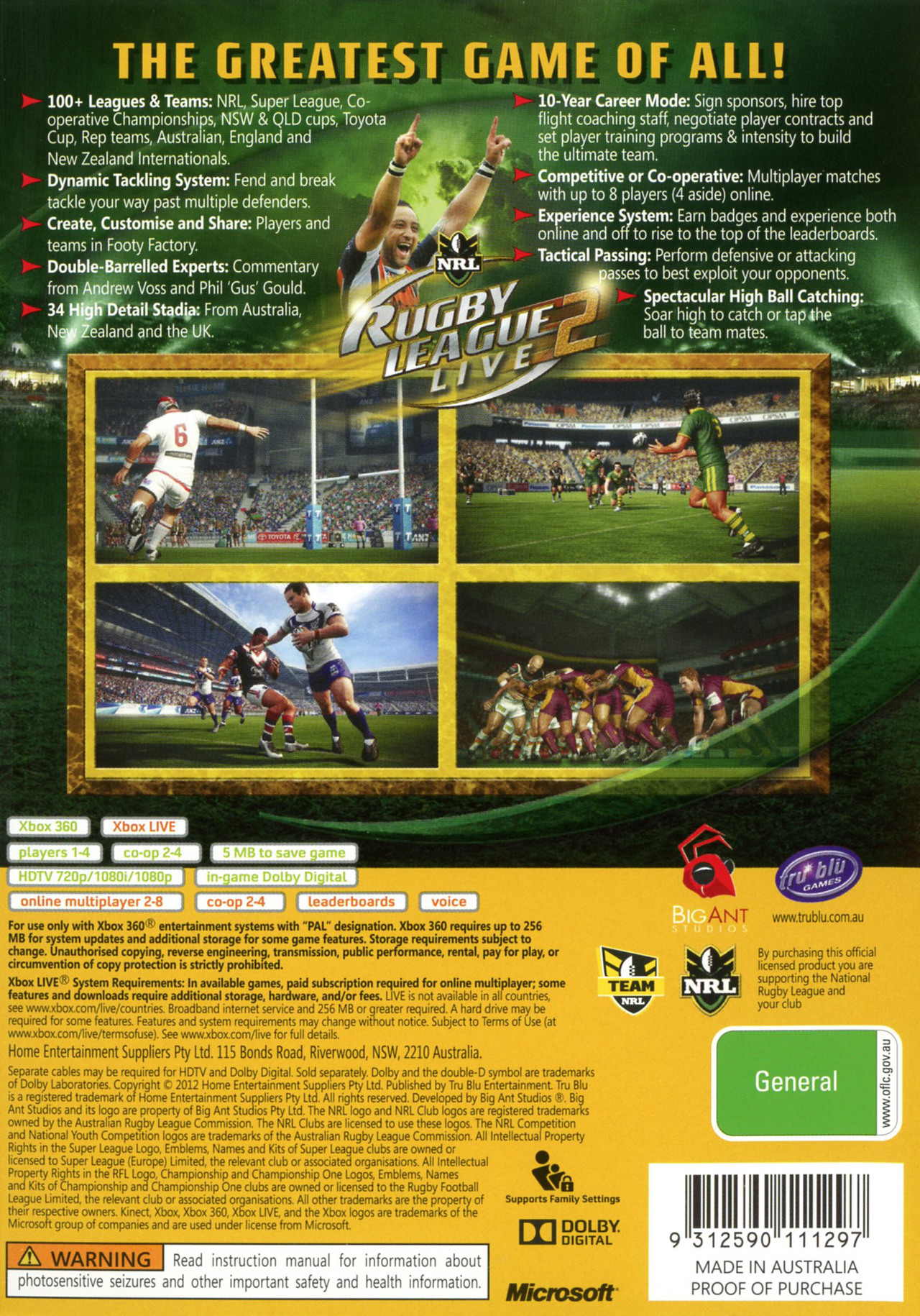 Images Rugby League Live 2 Xbox 360 - 2
