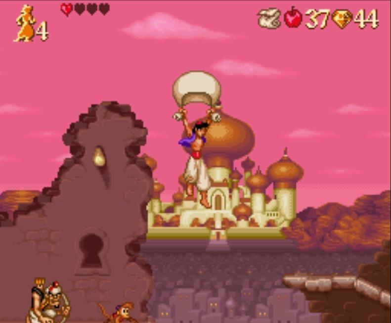 utilisation objet drap dans le jeu vidéo aladdin sur super nintendo snes
