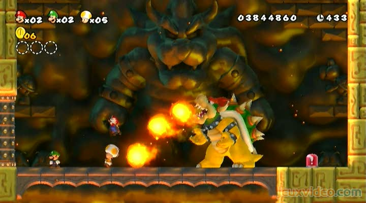 Gameplay New Super Mario Bros Wii Bowser Phase 1 Jeuxvideocom