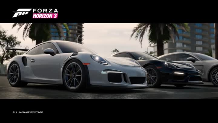 bande annonce forza horizon 3 le pack de voitures porsche en vid o. Black Bedroom Furniture Sets. Home Design Ideas