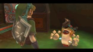 Link rencontre un drôle de bonhomme dans Zelda Skyward Sword sur Wii