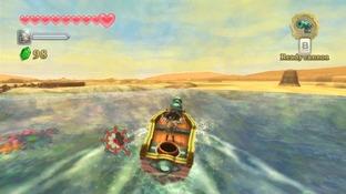 Link sur son bateau personnel Zelda Skyward Sword sur Wii