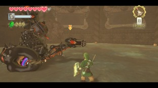 Link affrontant un boss scorpion dans Zelda Skyward Sword sur Wii