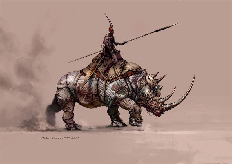 Les armées de l'Empire Noir du Gortork Conan_Kushite_rhino