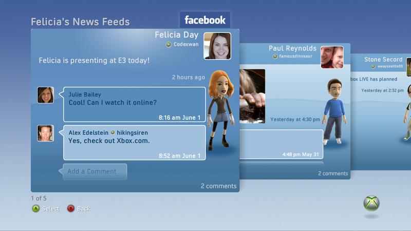 E3 2009 : Facebook débarque sur Xbox 360 Facebook_360_6