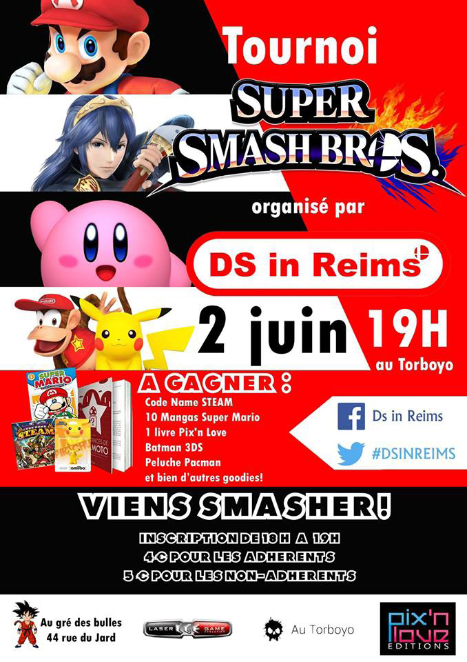 "Tournoi Super Smash Bros. à ""DS in Reims"" le 2 juin"