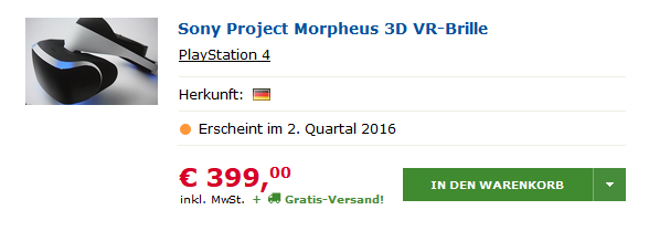 ps4 un prix pour le project morpheus actualit s. Black Bedroom Furniture Sets. Home Design Ideas