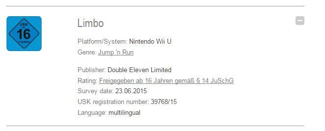 Limbo bientôt porté sur Wii U ?