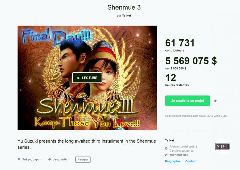 Shenmue 3 devient le jeu vidéo ayant récolté le plus d'argent sur Kickstarter