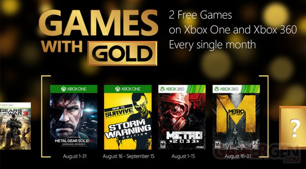 Xbox Gold : MGS 5 Ground Zeroes et Metro gratuits en août