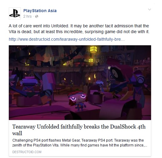 Quand le compte Facebook de Playstation Asia annonce la mort de la Playstation Vita