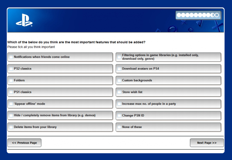 PS4 : Un sondage pour les fonctionnalités importantes à venir