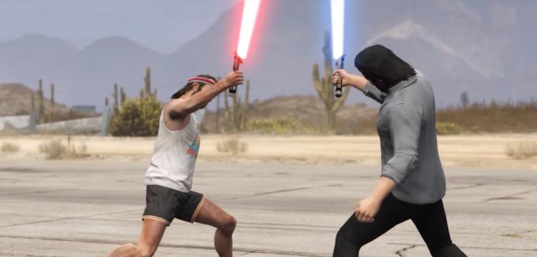 GTA 5 : Trevor et Michael s'affrontent au sabre laser grâce à un fan