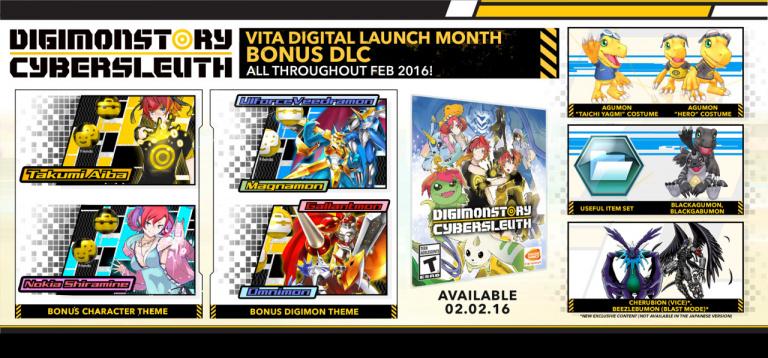 Digimon Story Cyber Sleuth : La liste des DLC offerts sur PS Vita