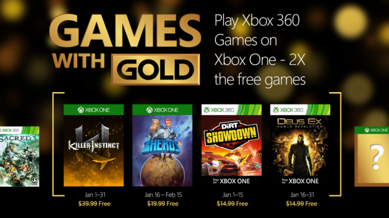 Xbox Gold : Deus Ex, Killer Instinct et DiRT Showdown gratuits en janvier