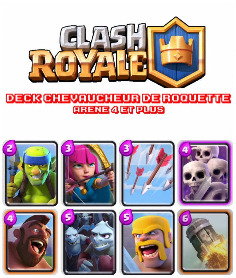 Deck offensif chevaucheur de roquette ar ne 4 et for Clash royale meilleur deck arene 7