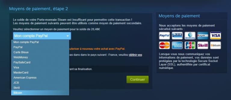 Steam accepte désormais les paiements en Bitcoin