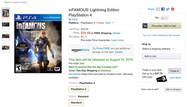 inFamous : Une Lightning Edition dévoilée sur Amazon US