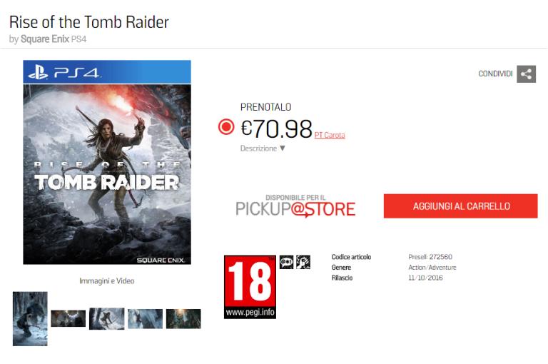 Rise of the Tomb Raider en octobre sur PS4 ?