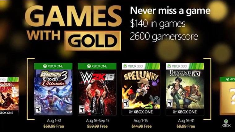 Les jeux du Xbox Live Games With Gold d'août révélés