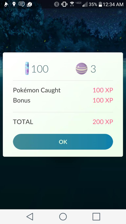Bonus pour 100 captures du même Pokémon