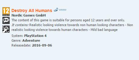 Destroy All Humans ! évalué au PEGI sur PS4