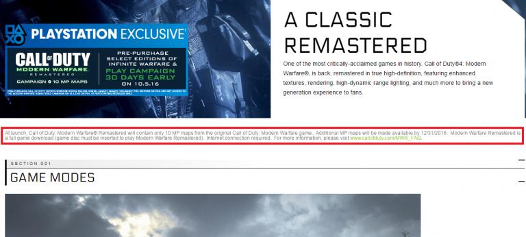 [MAJ] Call of Duty Infinite Warfare nécessaire pour jouer à Modern Warfare Remastered