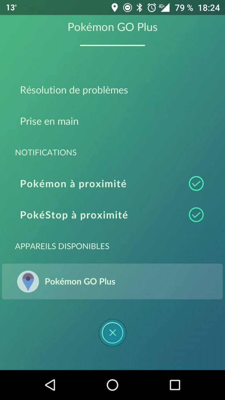 Réglages du Pokémon GO Plus