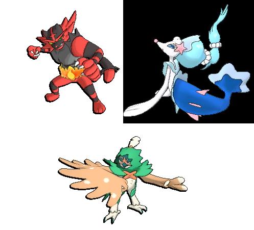 Evolutions finales des starters Brindibou, Otaquin et Flamiaou