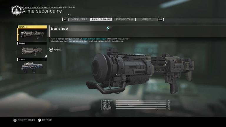 Armes à scanner : Armes Secondaires