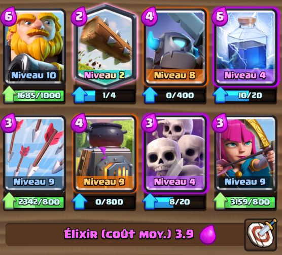 Deck golem foudre ar ne 7 et astuces et guide clash for Deck arc x arene 7
