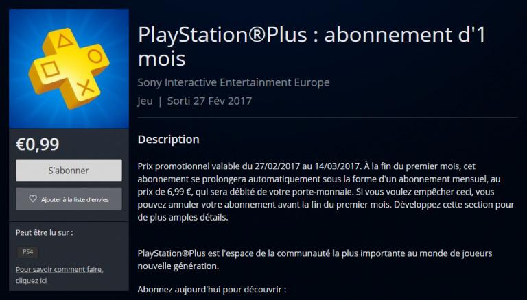En ce moment, le mois de PlayStation Plus est à 0,99€