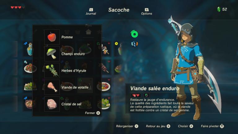 Zelda , Breath of the Wild  recettes de base, tous les plats, conseils