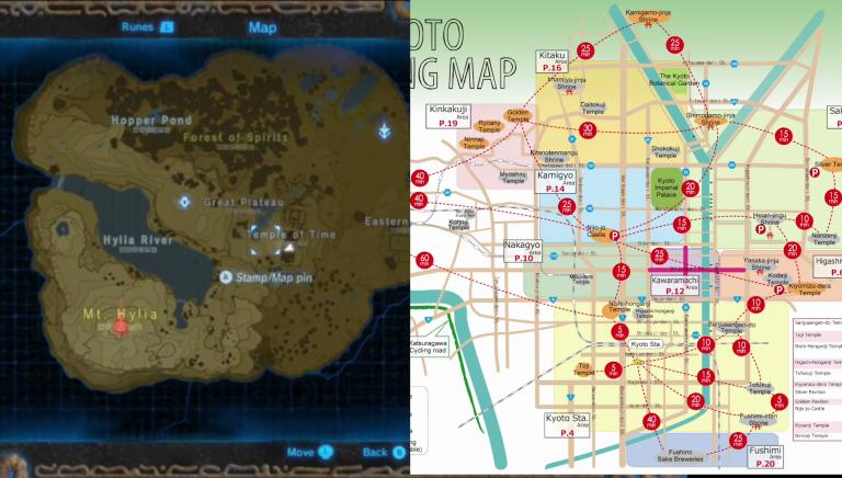La carte du jeu inspirée par Kyoto