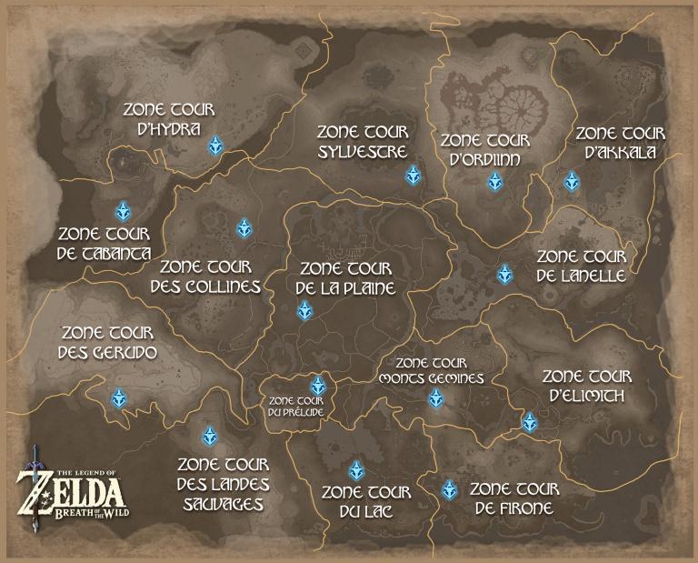 breath of the wild carte Carte d'Hyrule   Soluce The Legend of Zelda : Breath of the Wild