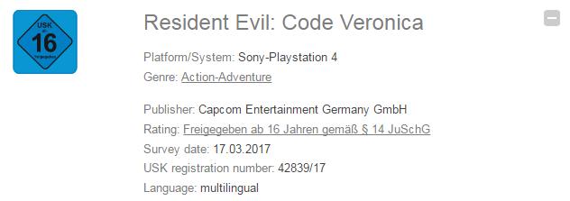 Resident Evil : Code Veronica - Une version PS4 évaluée en Allemagne
