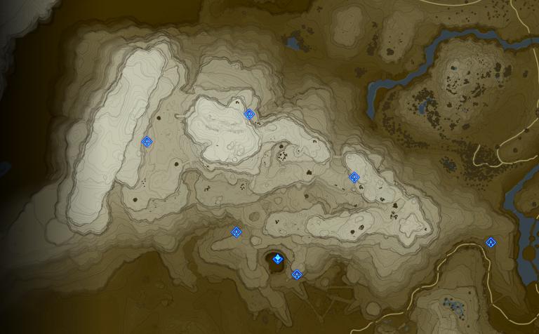 Carte et Sanctuaires de la tour des Montagnes Gerudo