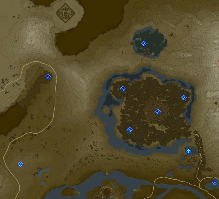Carte et Sanctuaires de la région de la Tour Sylvestre (Forêt Korogu)