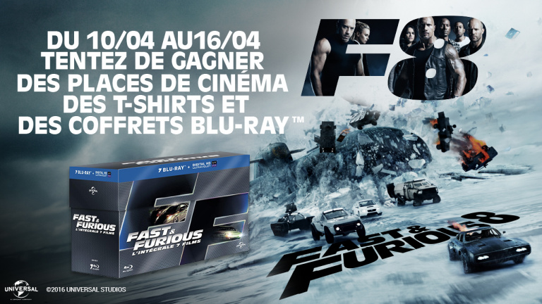 concours fast furious 8 gagnez des places de cin ma des coffrets blu ray et des t shirts. Black Bedroom Furniture Sets. Home Design Ideas