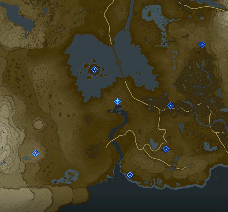 Carte et Sanctuaires de la région de la Tour du Lac (Sud d'Hyrule)